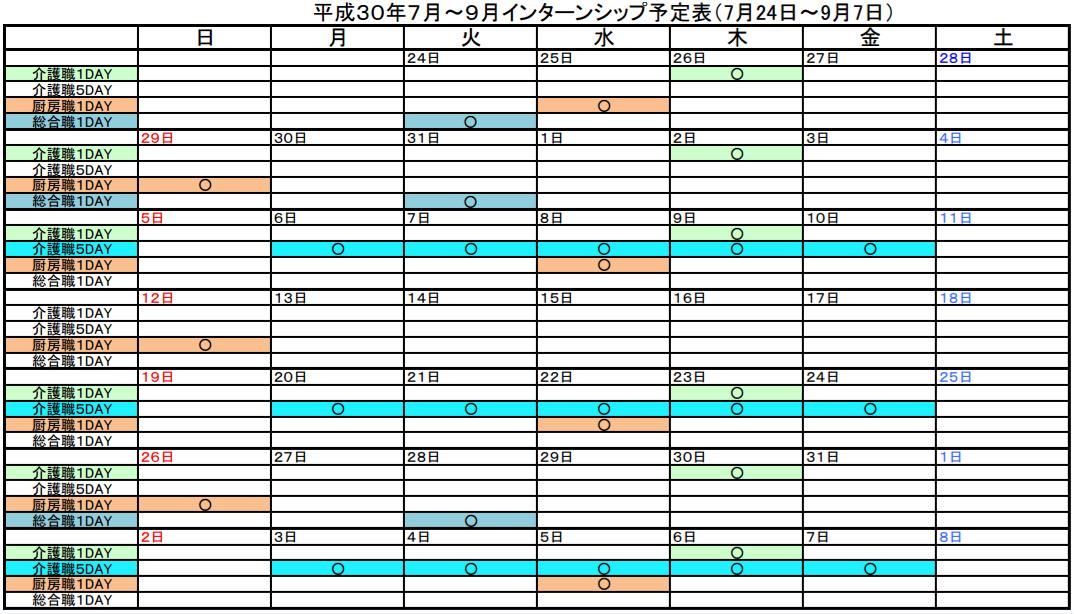 インターンシップ日程表